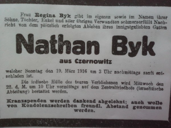 Obituary of Nathan Byk (d. Vienna, 1916)