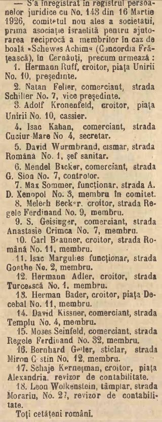Asociatie Israelita Cernauti 1926