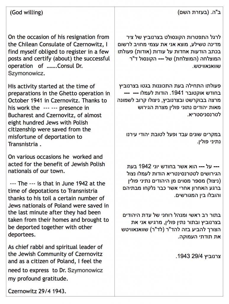 Szymonowitz Rath Letter